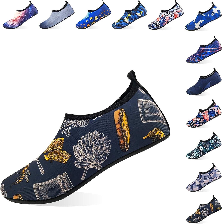 Jjyee Water shoes for Women and Men Barefoot Quick Dry Aqua Socks Slip on for Beach Swim Pool Surf Yoga(Honey,M 38 39)