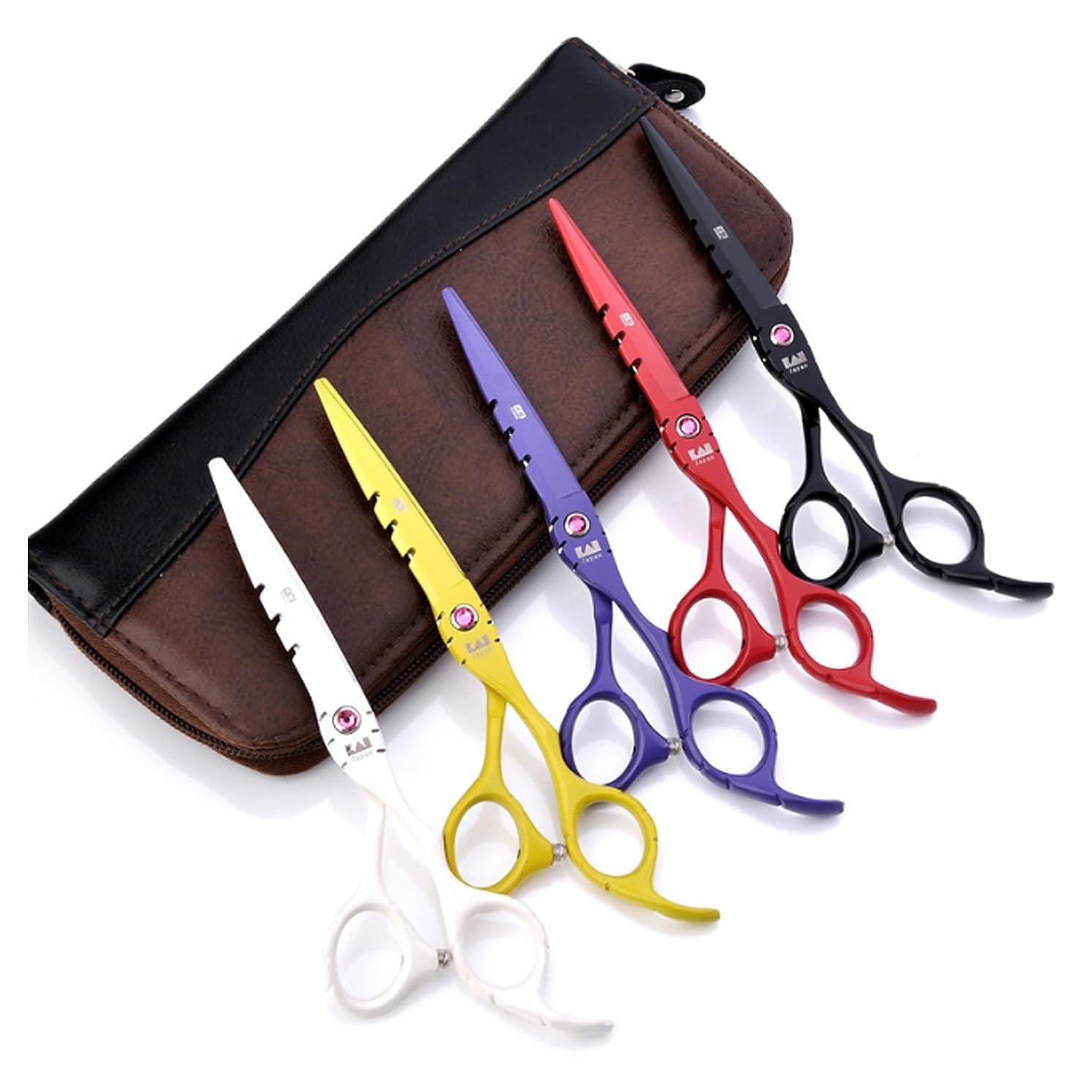 連帯略す共感するヘアはさみ 6インチヘアドライサーはさみ 理髪美容はさみ 切断剪断および薄毛/テキスチャライジングヘアセット 剃刀シャープ 日本のステンレス スチールはさみ (Color : 6.0 Purple thinning scissors)