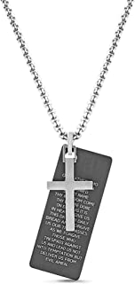 Steve Madden Black IP Plated Stainless Steel Lords Prayer Charm Cross Necklace for Men
