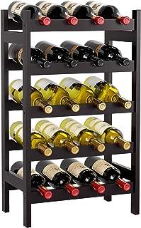 HOMECHO Bamboo Wine Rack with 5-Tier Storage Shelf 20 Bottles Display Stand Shelves Free Standing Wobble-Free, Brown, HMC-BA-003