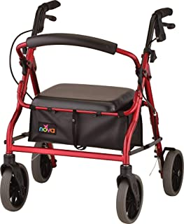 "NOVA Zoom Rollator Walker with 18"" Seat Height, Red"