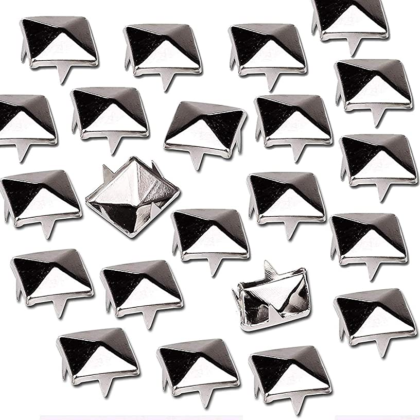 Mini-Factory 300 PCS Nailhead DIY Metal Silver Punk Spikes Spots Pyramid Studs For Leathercraft(Size:10MM, Color:Silver, QTY:300 Pieces)