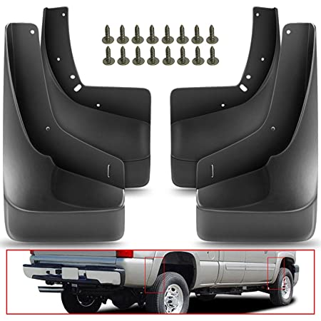 Front Rear 4pcs, Without Fender Flares KEWISAUTO Premium Heavy Duty Mud Flaps Mud Guards Splash for Chevy Silverado 1500 1500LD 2500 3500 2014 2015 2016 2017 2018 2019