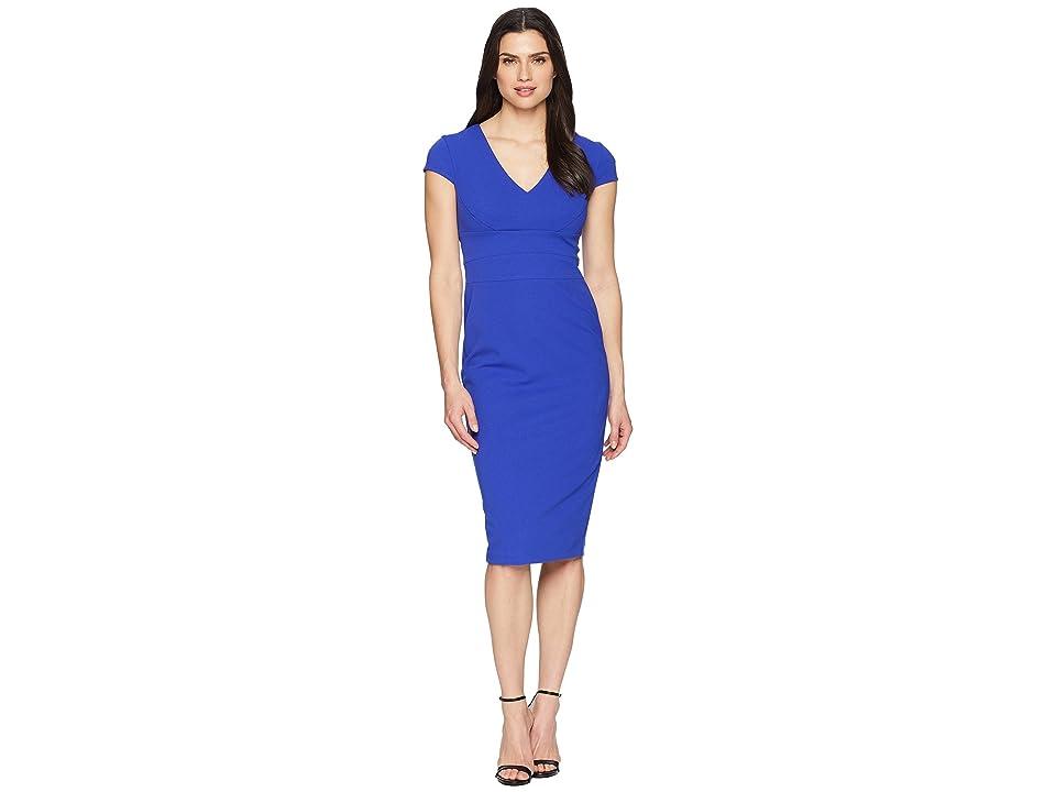 Donna Morgan Crepe Sheath Dress with Cap Sleeve (Cobalt) Women
