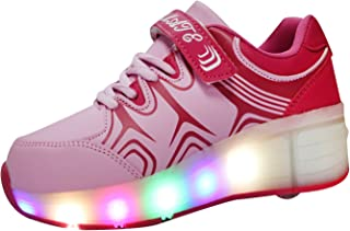VMATE PU Boy Girl LED Light Up Roller Double Single Wheel Skate Sneaker Sport Shoes Dance