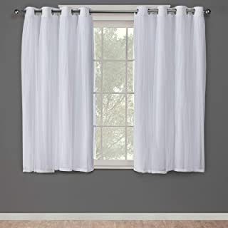 Exclusive Home Curtains Catarina Layered Solid Blackout and Sheer Window Curtain Panel Pair with Grommet Top, 52x63, Winter White, 2 Piece