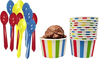 Circus Birthday Party Ice Cream Kit - 8 Ounce Striped Paper Treat Cups - Plastic Spoons - 12 Each - Red Yellow Blue White Ice Cream Sundae Kit