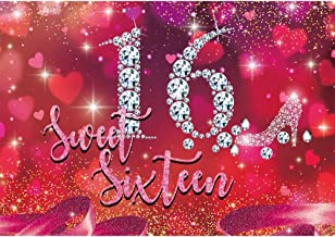 Allenjoy Rose Red Sweet 16 Birthday Backdrop Girls Happy Sixteen Bday Party Decorations Diamond High Heel Loving Heart Banner 7x5ft Photoshoot Background Photo Booth Studio Props