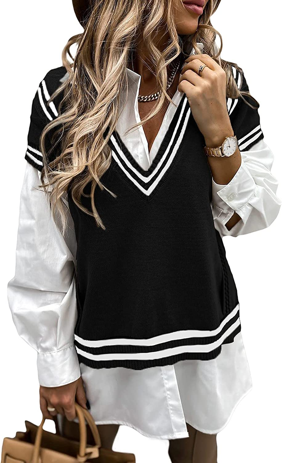 Happy Sailed Womens Oversized Sleeveless Knitted Sweater Vest Vintage V Neck Loose Cable Knit Pullover Tops S-2XL