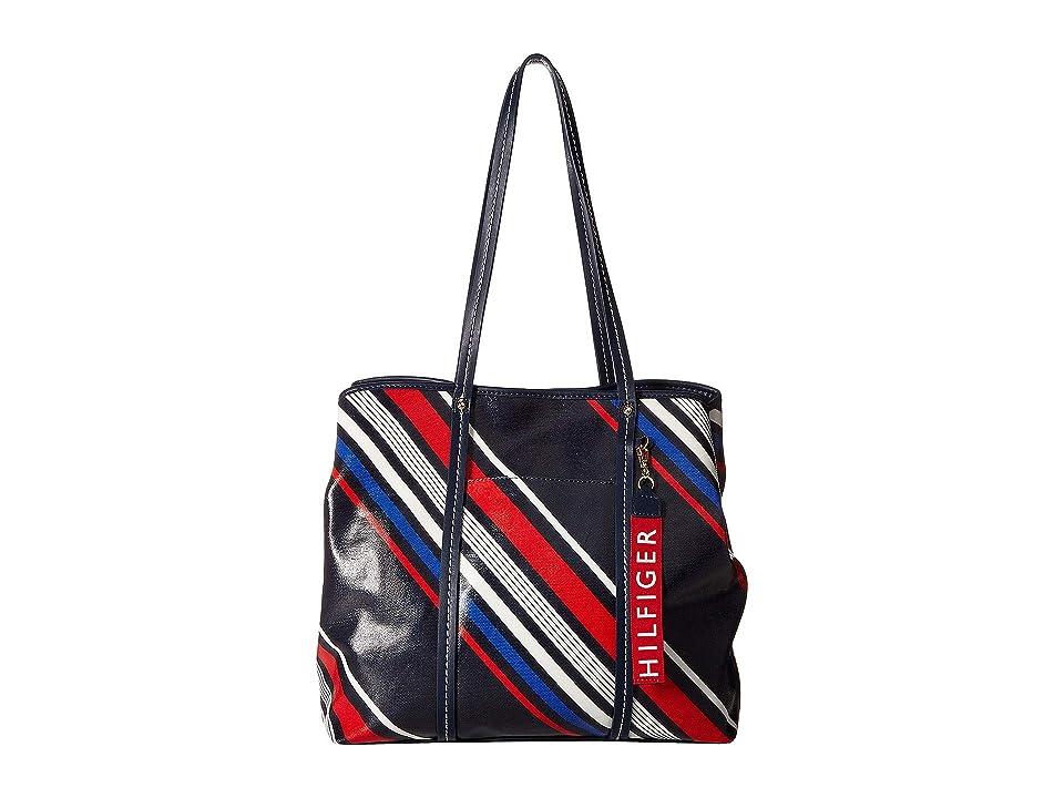 Tommy Hilfiger Diagonal Stripe Roma Tote (Navy/Multi) Tote Handbags
