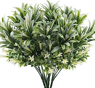 Nahuaa Arbusto Artificial Flores de Plastico 4pcs Plantas Verdes Artificiales Plantas de Interior o Exterior Decoración para Hogar Veranda Jarrones Boda