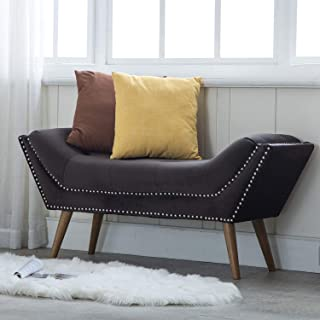 Upholstered Entryway Bench with Arms, Button Tufted Velvet Fabric Bedroom Bench with Nailhead Trim & Rubber Wood Legs, Charcoal Gray