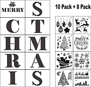 Christmas Stencils for Painting on Wood - 18 Pack Merry Christmas Sign Stencil Templates with Letters and Patterns, Reusable Plastic Stencils for Wood Burning & Wall Art