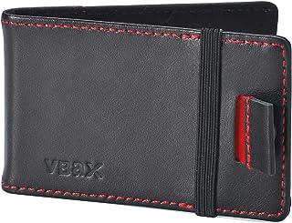 Mens Minimalist Slim Wallet - RFID Front Pocket Credit Card Holders for Men Women (Black Leather)