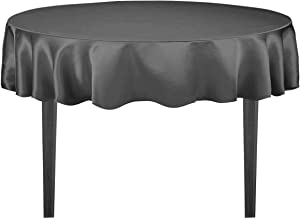 LinenTablecloth Round Satin Tablecloth, 70-Inch, Charcoal