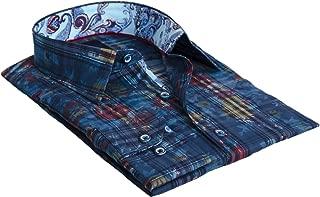 Forano Teal Floral and Plaid Print Men's Designer Shirt