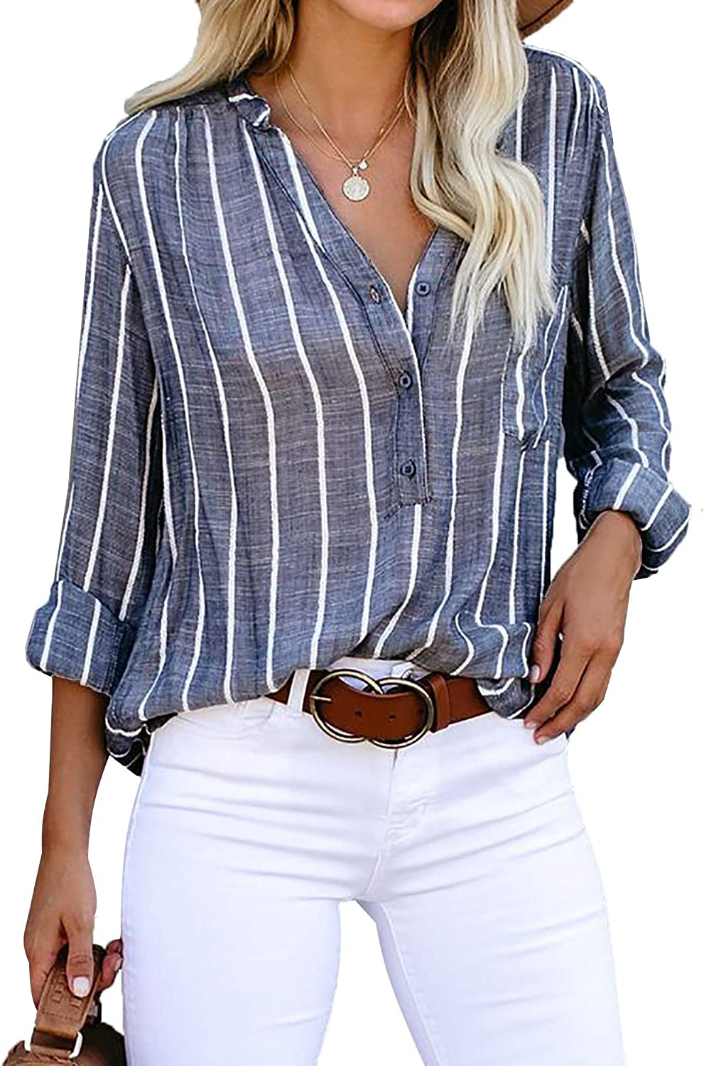 ROSKIKI Womens Casual Long Sleeve Shirts Henley V Neck Striped Blouse Loose Tunic Tops with Pockets S-XXL