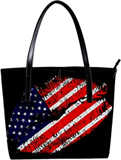 Lorvies - Borsa a tracolla da donna in pelle sintetica con bandiera americana, con tracolla e borsa a mano