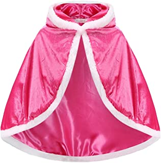 Princess Cloak with Hood Girls Cape Kid Toddler Costume Dress up for Halloween Christmas Carnival Cospaly