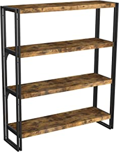 IRONCK Industrial Bookshelf and Bookcase 4 Tier, Wood and Metal Bookshelves Storage Shelves for Home Office, Sturdy Easy Assembly, Rustic Brown
