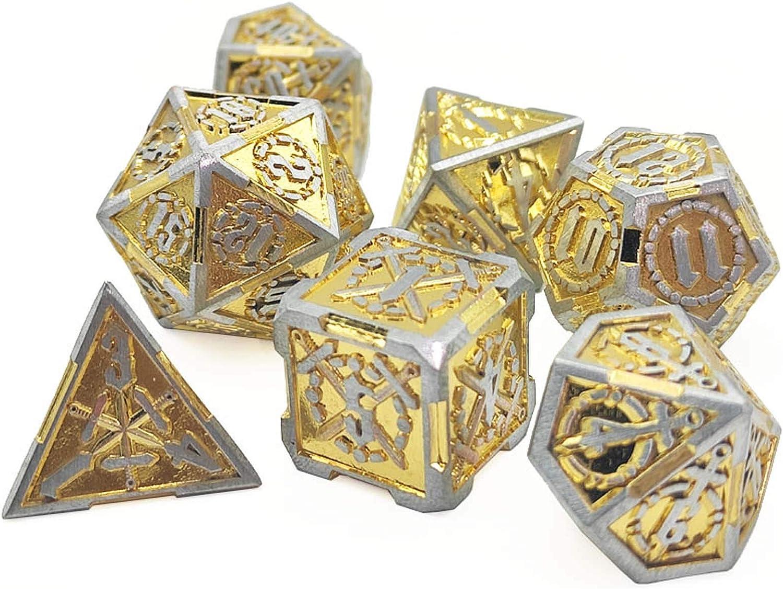 LQley 7 Pezzi di Dadi in Polyhedral Set per Gioco di Ruolo Gioco Dungeons E Draghi D /& D Dice Dice Math Insegnamento Vintage Metal Dice Set Tavolo da Tavolo