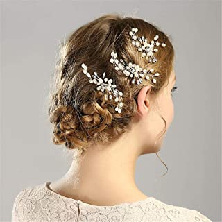 LUKEEXIN Bridal Hair Bun White Pearl Hair Bun Bridal Wedding Accessories (Color : A001)