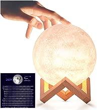 Moon Lamp 3D LED Dimmable Moon Light,3 Warm Luna Colours,5.9 inch Rechargeable Glowing Moon Globe for Kids.Bonus downloadable Moon Calendar