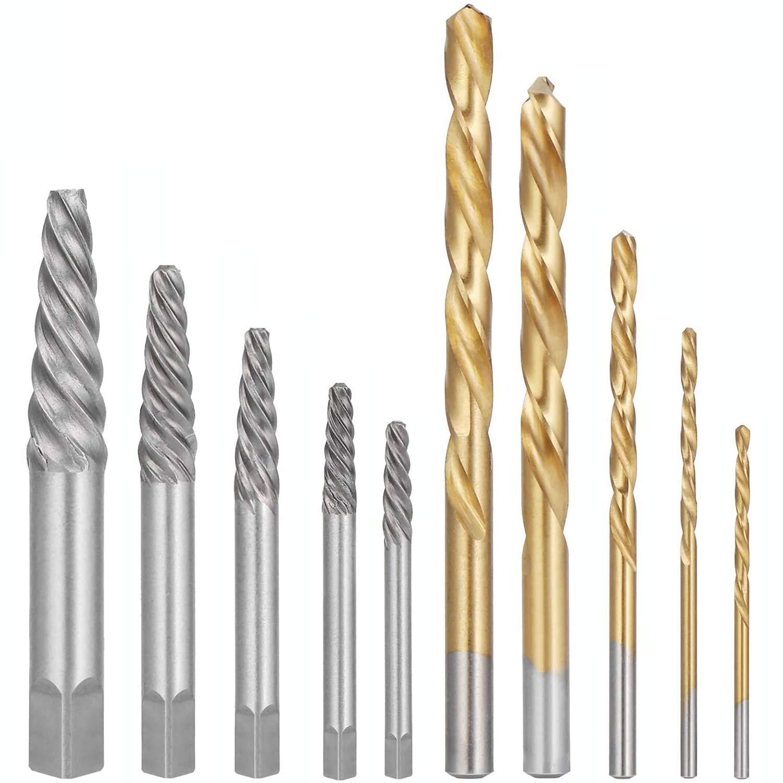 Litens h 10 extractores de tornillos con brocas de cobalto de mano izquierda, juego de combinación de extractor de tornillos dañados con caja de metal