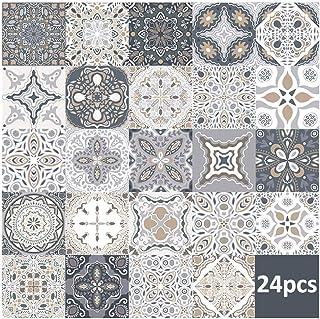 """24 piezas pegatinas de azulejos de pared - calcomanías de azulejos para cocina sala de estar baño decoración para el hogar autoadhesivo (20 * 20CM/7.9""""*7.9"""")"""
