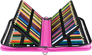 YOUSHARES 160 Slots Pencil Case - PU Leather Large Capacity Zipper Pen Bag with Adjustable Strap for Prismacolor Watercolor Pencils, Crayola Colored Pencils, Marco Pens and Cosmetic Brush (Pink)