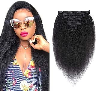 Yaki Clip in Hair Extensions Human Hair 8A Brazilian Virgin Rem Kincy Yaki Hair Ins for Black Women Natural Black Color Double Weft 100% Human Hair 8Pcs/Set 150 Gram (16 Inch, Kinky Straight)