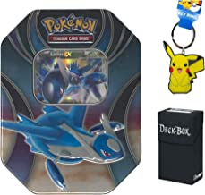 Pokemon Latios EX Tin with Latios EX Promo Card, 4 Pokemon Booster Packs Bundle with Pikachu Keychain and Ultra Pro Deck Box - 3 Items