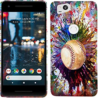 Google Pixel 2 Case - Vintage Color Baseball Hard Plastic Back Cover. Slim Profile Cute Printed Designer Snap on Case by Glisten
