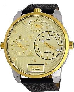 ساعة Omax TT01T151 للرجال بلونين ذهبي تقليم XL كبيرة الحجم 3 تايم زون سوار جلد بني مينا ذهبي