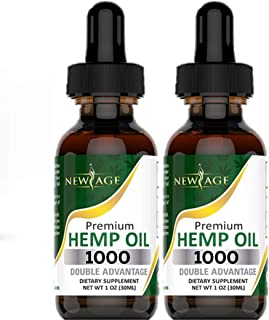 Hemp Oil Extract - 2 Pack - New Age 1000 - Grown & Made in USA - Natural Hemp Drops - Helps with Sleep, Skin & Hair