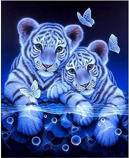 DIY Diamond Painting Kit Inkach 5D Rhinestone Embroidery Cross Stitch Arts Craft Home White Tiger Pattern Decor (Multicolor)