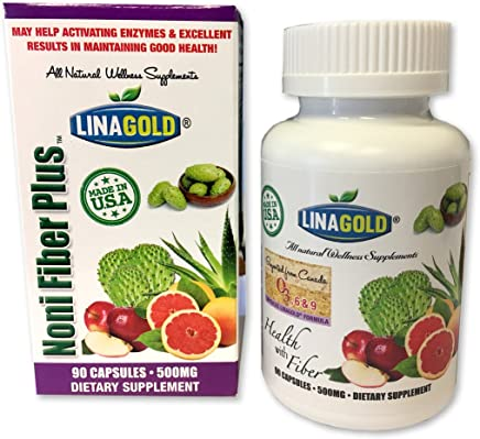 Noni Fiber Plus Flaxseed Dietary Supplement Capsules (90qty)