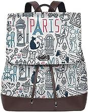 SGSKJ Mochila De Cuero Mujer Bolso París Francia 9 Estudiante Casual Bolsa La Universidad Bolsa De Viaje De Cuero Mochila Mujer