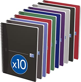 Oxford Office Essentials 100100385 Pack of 10 Bound Notebook with Soft Cover Notebook - 100 pages-Assorted Colours