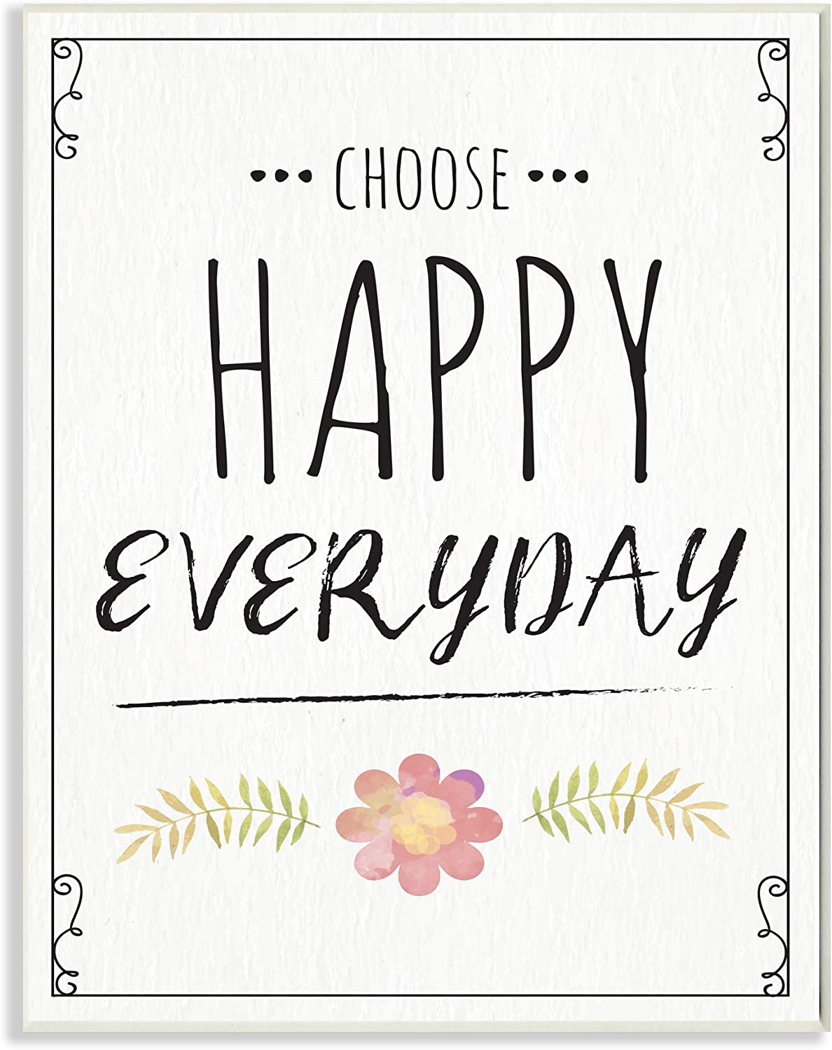 The Stupell Home Decor Choose Happy Everyday Pink Flower Black and White Wood Look Wall Plaque Art 12x18 Multi-color