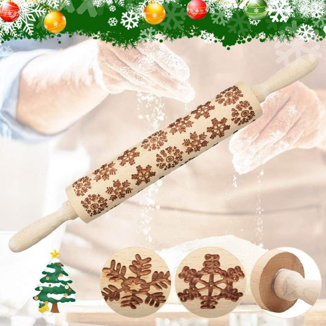 heekpek Rodillo de Amasar de Madera Rodillos de Navidad 3D Madera Rodillo Relieve con Copo de Nieve de Alce de Arbol de Navidad para Horneando Masa Galletas