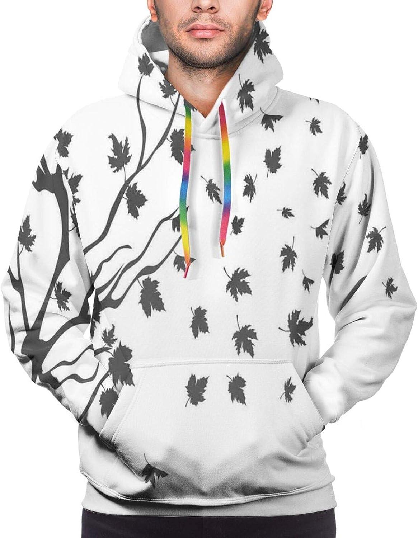 Men's Hoodies Sweatshirts,Maple Leaf Branches in Fall Season Environment Themed Digital Design