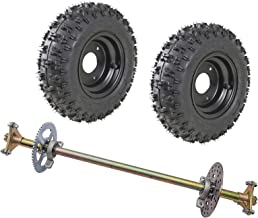 TDPRO Rear Axle Shaft Assembly Kit with 4.1-6 Wheels Tires Rims and Sprocket Brake Disc Pillow Block for Go Kart Quad Trike Drift Bikes