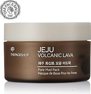 THEFACESHOP Jeju Volcanic Lava Pore Face Mud Mask For Blackhead Acne Minimizer, 3.3 oz