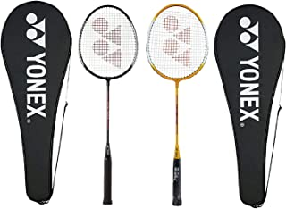 Yonex GR 303 Combo Badminton Racquet with Full Cover, Set of 2 (Black/Yellow)