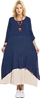 Anysize Spring Summer Fake Two Piece Linen Cotton Dress Plus Size Dress Y82