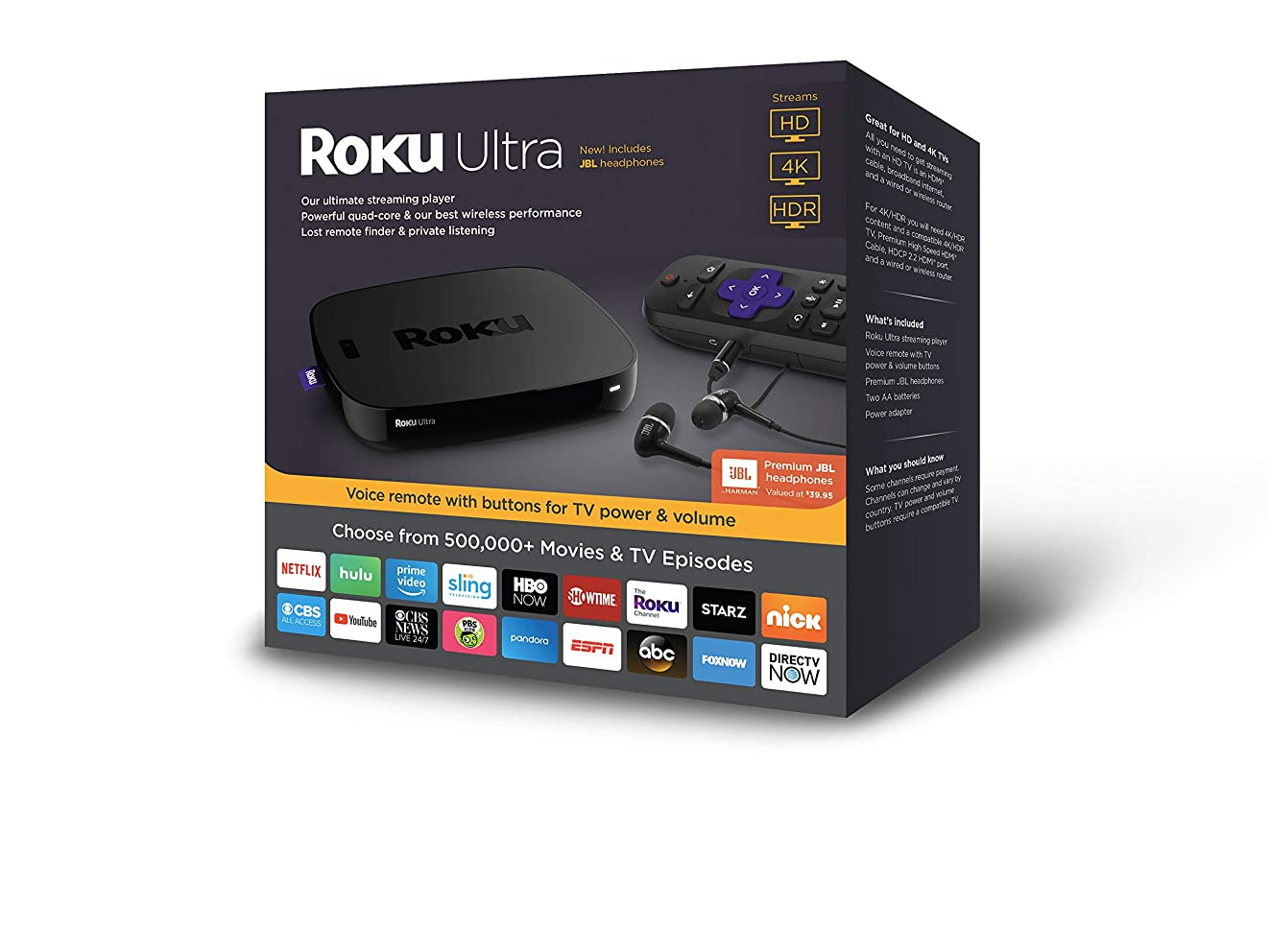 Roku Ultra   HD/4K/HDR Streaming Media Player.?Now includes?Premium JBL Headphones. (2018)