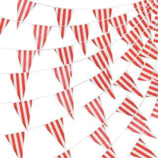 Pudgy Pedro's Party Supplies 100 Foot Pennant Banner, 48 Red & White Striped Weatherproof Flags, Circus & Carnival - Versatile Party Décor