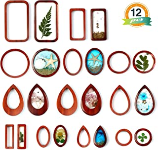 LET'S RESIN Resin Jewelry Making Kit with 12 PCS Wooden Frames Pendant 5 Styles Bezel Charms Pendants, Wood Pieces for Resin Jewelry, Earring, Necklace Crafts DIY