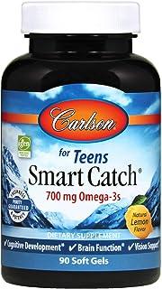 Carlson - Teen's Smart Catch, 700 mg Omega-3s, Cognitive Development, Brain Function & Vision Support, Lemon, 90 Softgels
